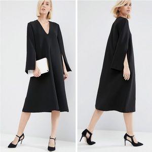 ASOS WHITE MIDI Dress w/ Square V-Neck 6 Black